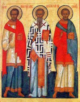De tre hierarker: De hellige Gregor fra Nazianz, Basilios den Store og Johannes Krysostomos.