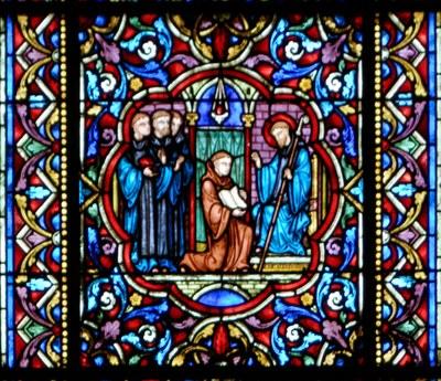 Den hellige Eustadius forklarer den hellige Makarius' regel til sine brødre ikledd sine blå drakter. Glassmaleri i kirken Notre-Dame i Dijon