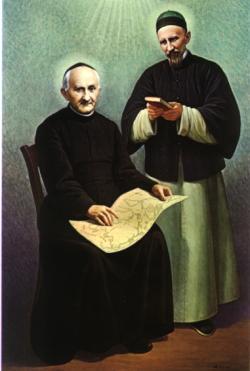 De hellige Arnold Janssen (t.v.) og Josef Freinademetz, maleri av A. Missori (Roma)