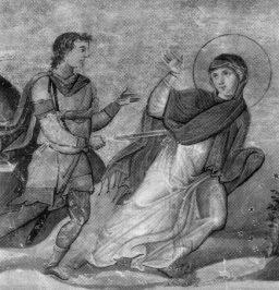 Den hellige Anysia av Thessaloniki, Basilios IIs menologium, Biblioteca Apostolica Vaticana)