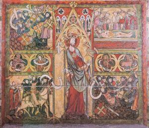 Utsnitt fra antemensale (alterforstykke), trolig fra Haltdalen stavkirke (ca 1320), som viser Olav den helliges helligkåring