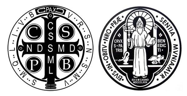Benediktmedaljens for- og bakside