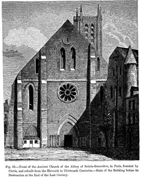 Den gamle klosterkirken Sainte-Geneviève i Paris, grunnlagt av Klodvig og senere ombygd. Tilstanden før den ble revet i 1802.