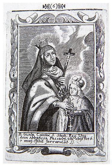 Johann Sigismund Schott og Johann Jacob Hoffmann: Den salige Gisela med den hellige sønnen Emerik (Nagyszombat (nå Trnava i Slovakia) (1692)