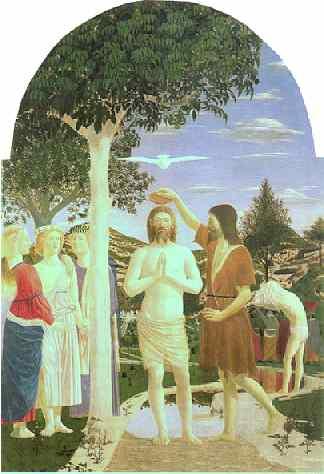 Herrens dåp malt av Piero Della Francesca
