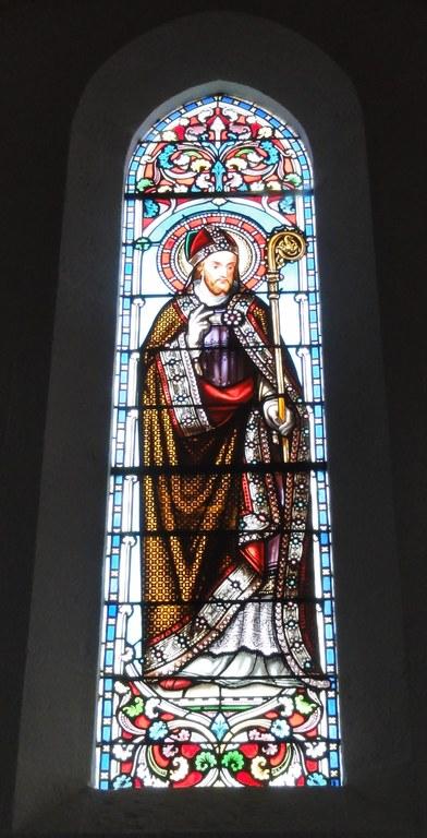 Den hellige Paulinus av Nola, glassmaleri i kirken Saint-Martin i Carcans i departementet Gironde i regionen Nouvelle-Aquitaine i Frankrike
