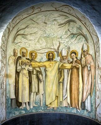 Rotunden i våpenhuset i St. Dominikus kirke i Oslo. F.v. p. Schilling, St. Olav, St. Hallvard, Kristus, St. Torfinn, St. Sunniva og St. Eystein