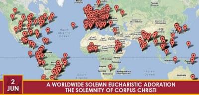 Kart verdensvid tilbedelse