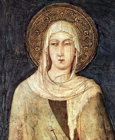 Simone Martini (1280/85-1344): Den hellige Margareta av Ungarn (detalj) (1318), freske i den nedre basilikaen San Francesco i Assisi