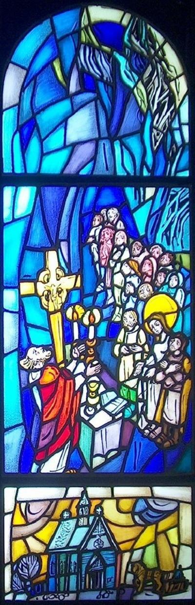 Glassmalerier i St. Sunniva kirke i Harstad: 2) Fromt liv på Selja