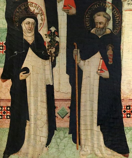 Den hellige Margareta av Ungarn [5] og den salige Jakob Salomoni [8], fra bildet av hellige og salige dominikanere av en anonym «Maestro delle effigi domenicane» i kirken Santa Maria Novella i Firenze (ca 1335-40)