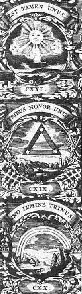 Treenighet: J. Bocshius 1702, fra Biedermanns symbolleksikon