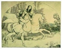 Moritz von Schwind: Den hellige Hildegund av Schönau ledet av en engel (1823) © Kupferstichkabinett