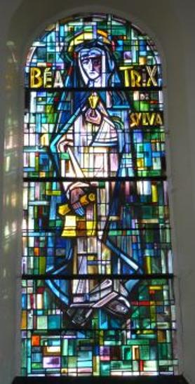 Glassmaleri i kirken Saint-Materne/Sint-Maternuskerk i Anthée i provinsen Namur i regionen Vallonia i Belgia, Osterrath 1960