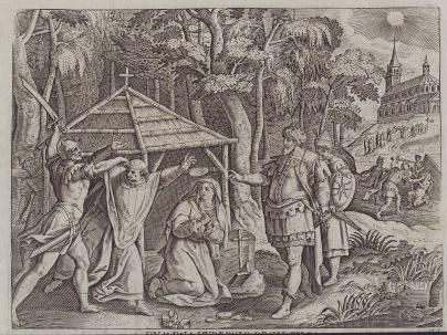 Den hellige Dympna drepes sammen med den hellige Gerebern, t.h. hennes far som konge, kobberstikk av Nicolaes de Bruyn (1571-1656) (1606)