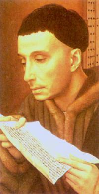 Utsnitt av maleri av Rogier van der Weyden (1400-t); man antar at dette forestiller Ivo Hélory