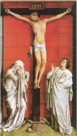 Johannes og Maria under korset. Maleri av Rogier van der Weyden, i dag i Escorial, Nuevos Museos.