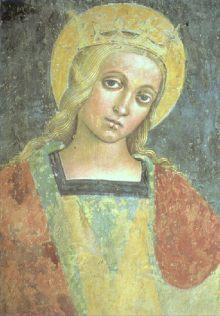 Den hellige Kristina av Bolsena. Freske i St. Bernardins kapell (n† Sakramentskapellet) i Basilica di Santa Cristina i B