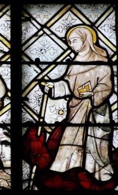 Lifardus dreper dragen, glassmaleri (1328) i basilikakatedralen Notre-Dame i Chartres