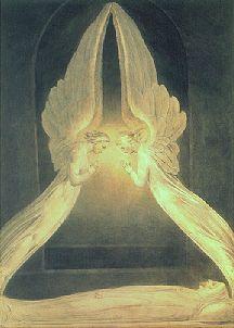 Kristus i graven voktet av engler, William Blake (1757-1827)
