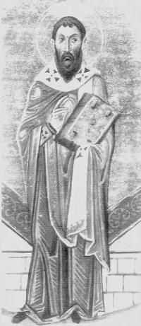 Sofronius av Jerusalem. Fra Basilios IIs Menologium (kalender med helgenbiografier), Biblioteca Apostolica Vaticana, Rom