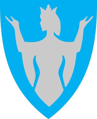Den hellige Sunniva er motiv for Selje kommunevåpen, laget av billedkunstneren Turid Haye