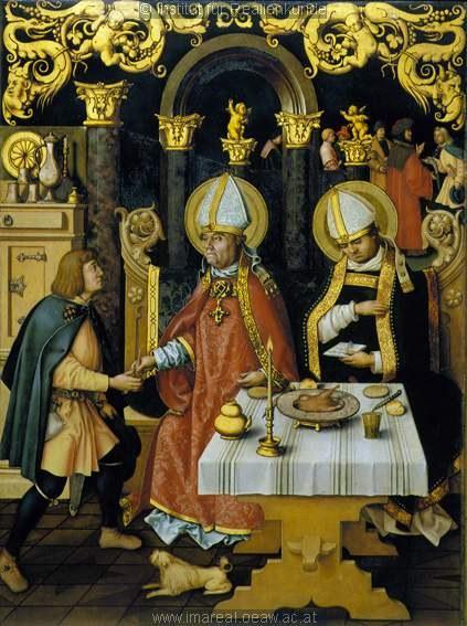Hans Holbein d.E. (ca 1465-1524): Fiskeunderet med biskop Ulrik og biskop Konrad, fra Katarina-alteret i Augsburg, nå i Staatsgalerie Augsburg