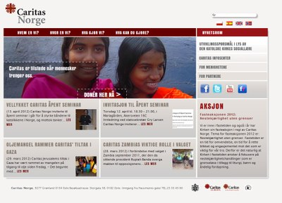 Screenshot nye sider Caritas
