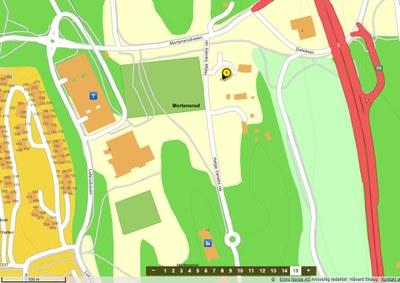 Kart tomt Mortensrud gård