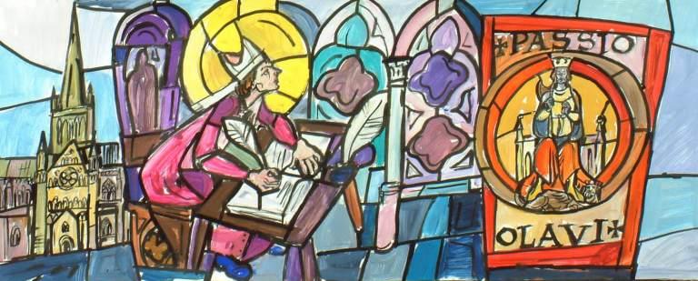 Erkebiskopen forfatter Passio Olavi, glassmaleri i St. Eystein kirke i Bodø