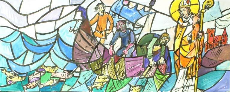Erkebiskop Eystein og sildefisket, glassmaleri i St Eystein kirke i Bodø