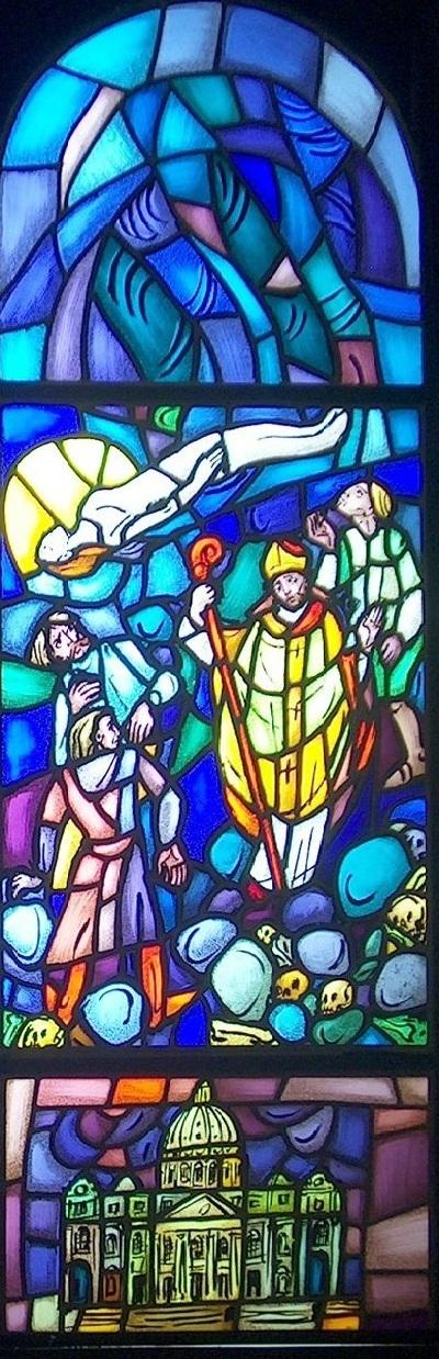 Glassmalerier i St. Sunniva kirke i Harstad: 4) Funnet av Sunniva